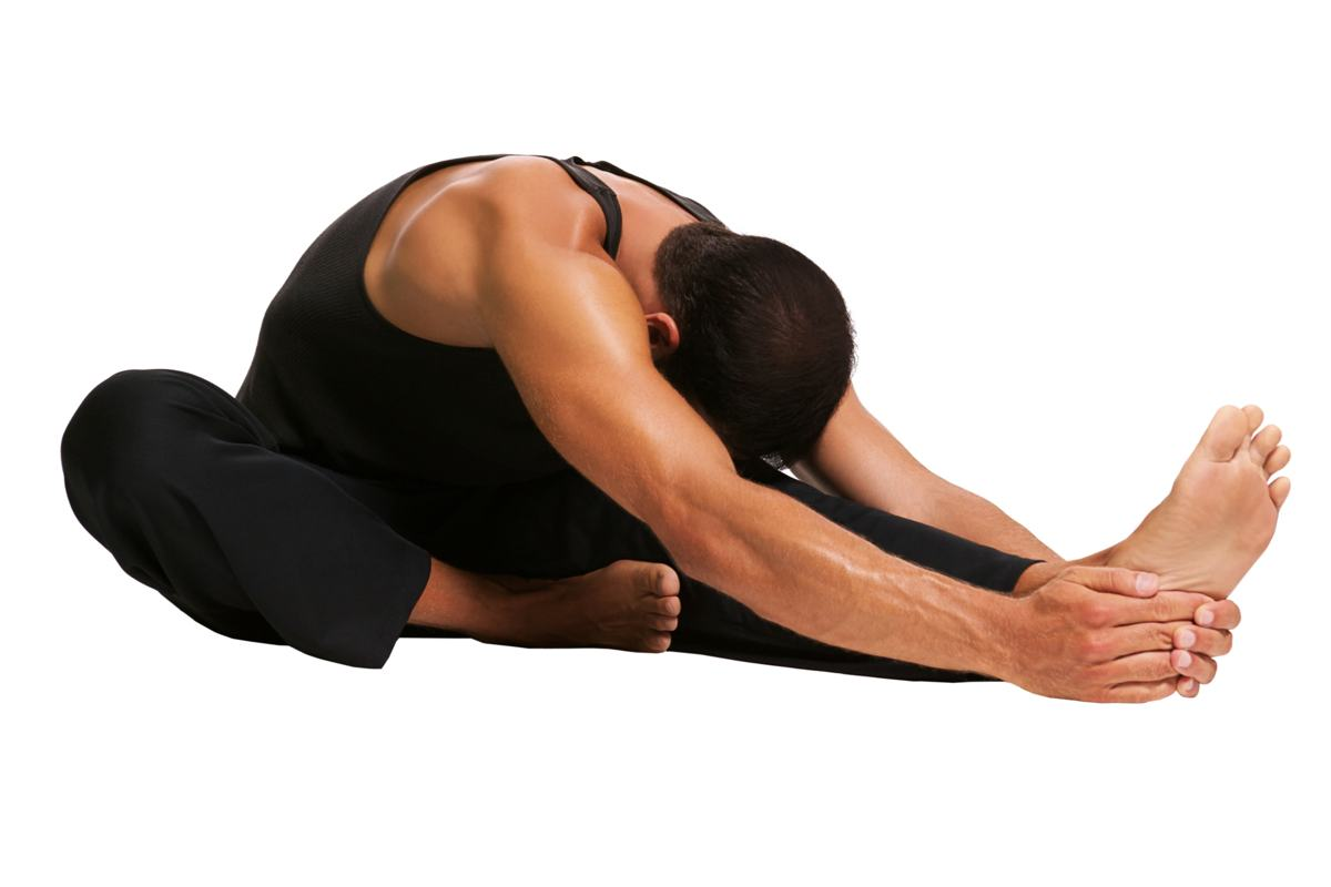 Daily Fitness Schedule--man stretching out over leg